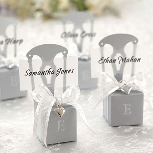 Silver Chair Favor Boxes With Monogram Stickers