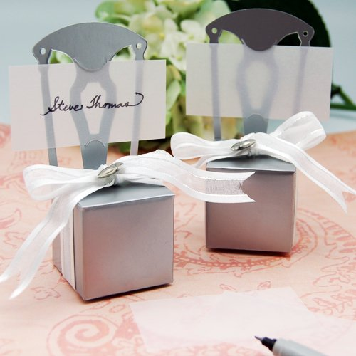 Silver Chair Favor Box Place Card Holders with Monogram Stickers