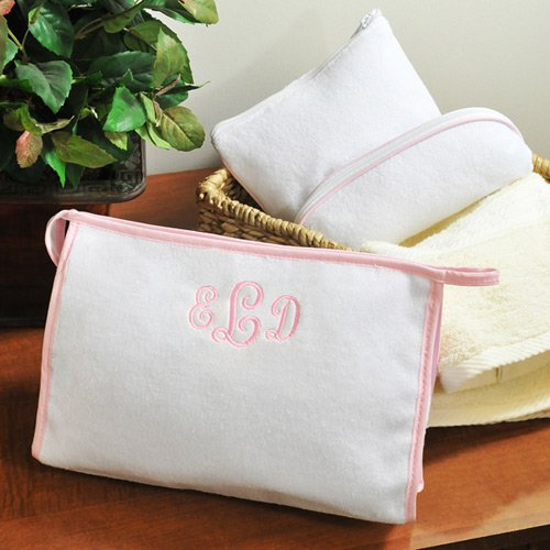 Personalized 3-Piece Pink-Trimmed Terry Cloth Cosmetic Bags Gift Set