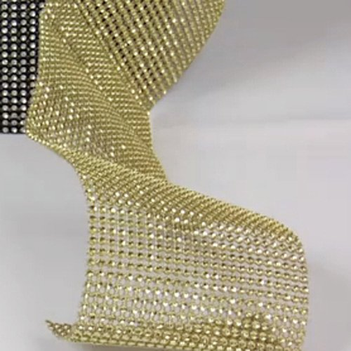 Gold Diamond Rhinestone Ribbon Wrap