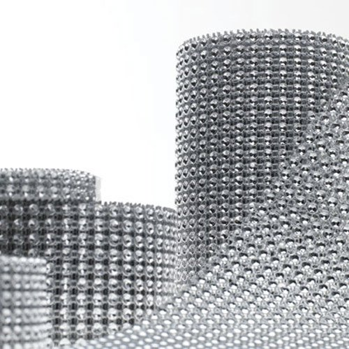 Silver Diamond Rhinestone Ribbon Wrap