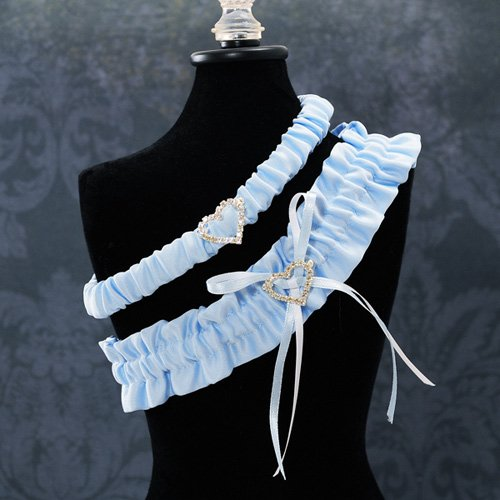 Crystal Heart Blue Wedding Garter Set