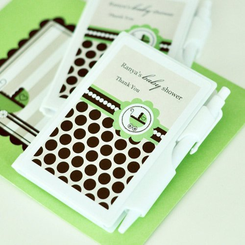 Personalized Green Baby Notebook Favor