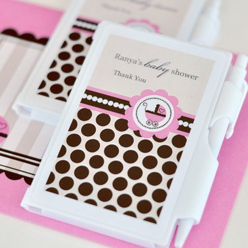 Personalized Pink Baby Notebook Favor