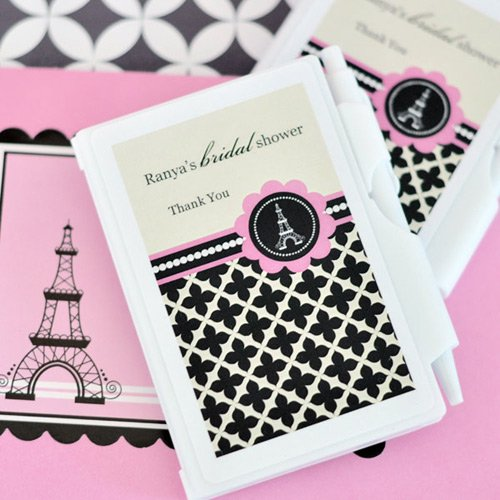 Personalized Paris Themed Notebook Favor