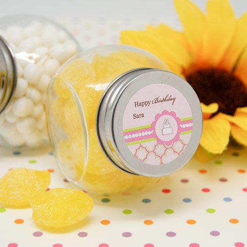 Personalized Pink Cake Themed Mini Candy Jar