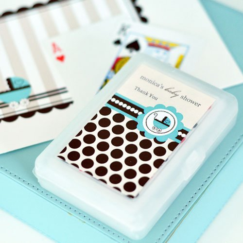 Blue Baby Shower Playing Cards with Personalized Labels