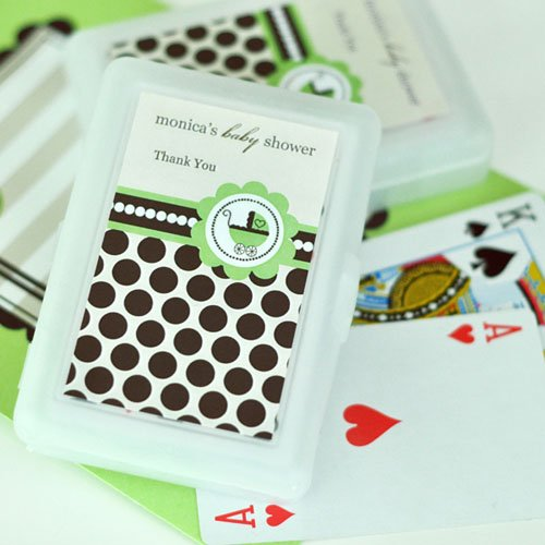 Green Baby Shower Playing Cards with Personalized Labels