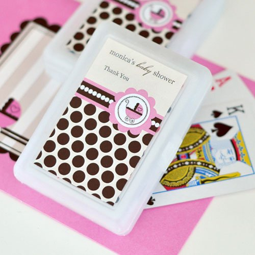 Pink Baby Shower Playing Cards with Personalized Labels
