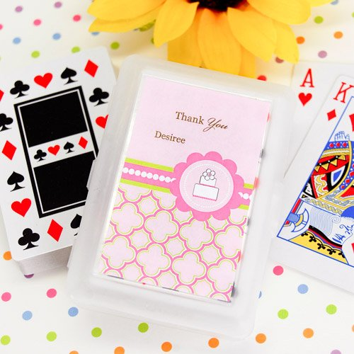 Pink Cake Themed Playing Cards with Personalized Labels