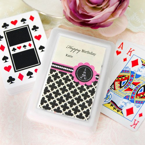 Paris Themed Playing Cards with Personalized Labels