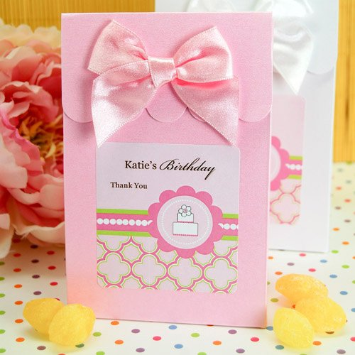 Personalized Pink Cake Themed Candy Bags
