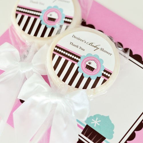 Personalized Cupcake Themed Lollipop Favor