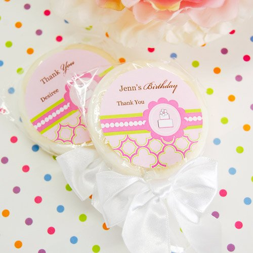 Personalized Pink Cake Themed Lollipop Favor