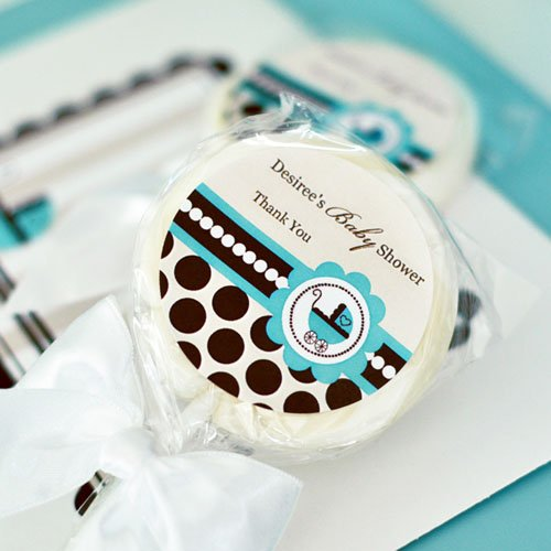 Personalized Blue Baby Shower Lollipop Favor
