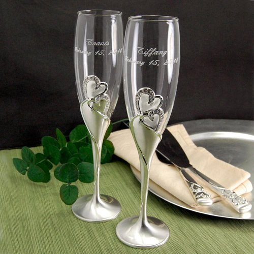 Sparkling Love Personalized Toasting Flutes