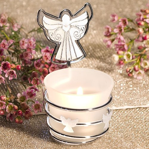 Silver Angel Candle Place Card Holder