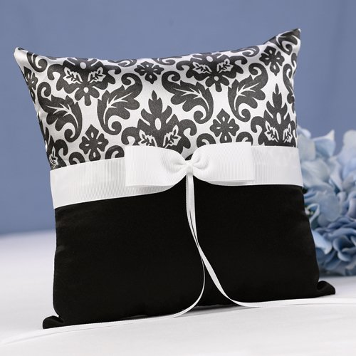 Black and White Damask Ring Bearer Pillow
