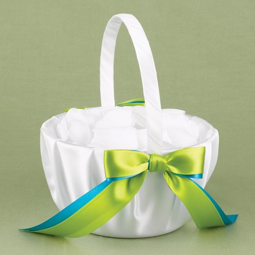Custom Two-Ribbon White Flower Girl Basket