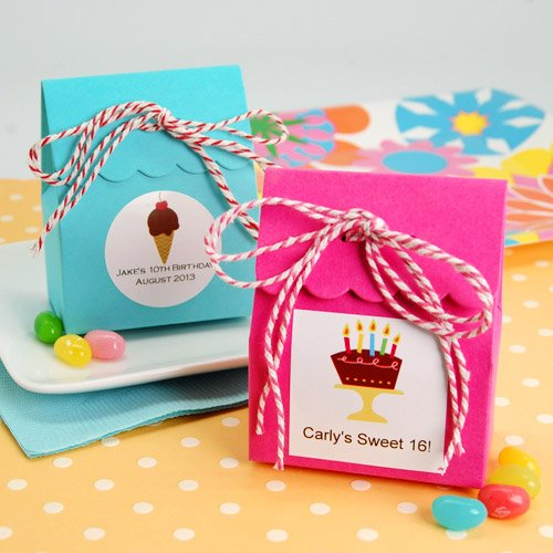 Party Theme Scalloped Favor Bag with Personalized Label and Twine