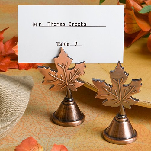 Autumn Leaf Copper Place Card Holder