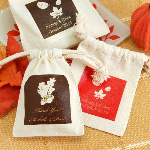 Personalized Autumn Silhouette Natural Cotton Favor Bag