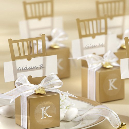 Gold Chair Favor Box Place Card Holders with Monogram Stickers