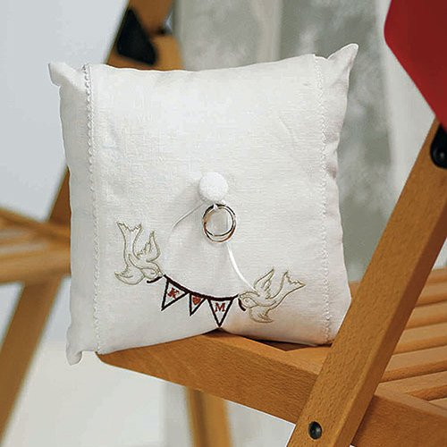 Personalized Birds with Pennant Ring Bearer Pillow