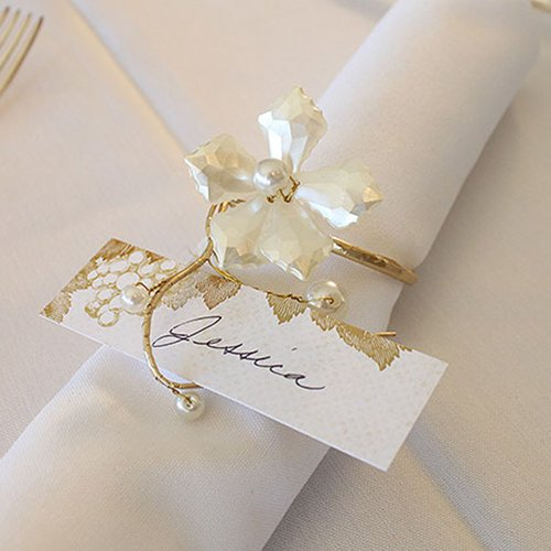 Pearl and Vintage Gold Wire Napkin Ring