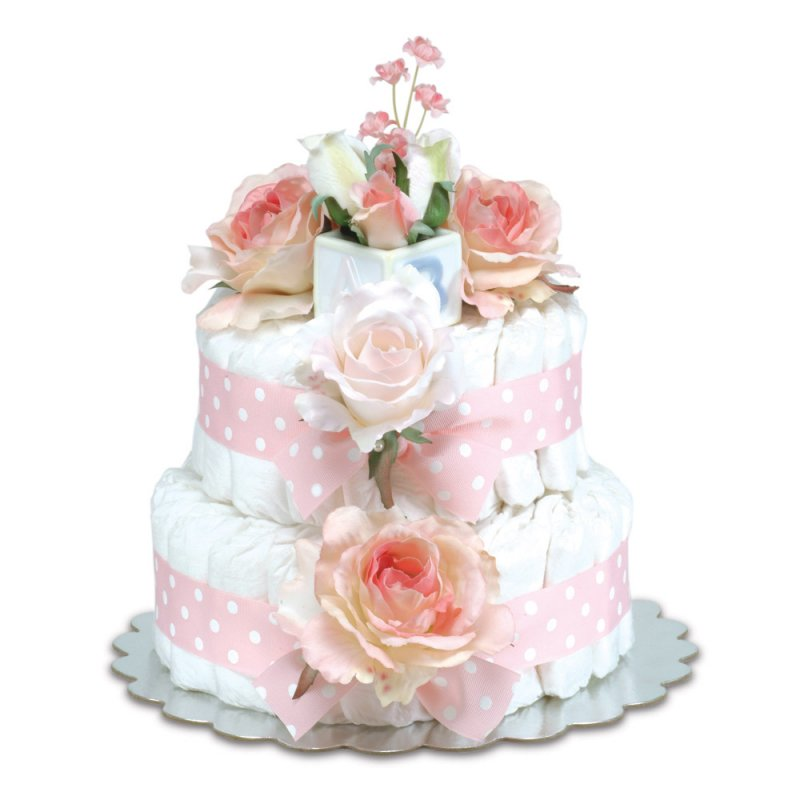 Two-Tier Pink Roses with Polka Dots Diaper Cake
