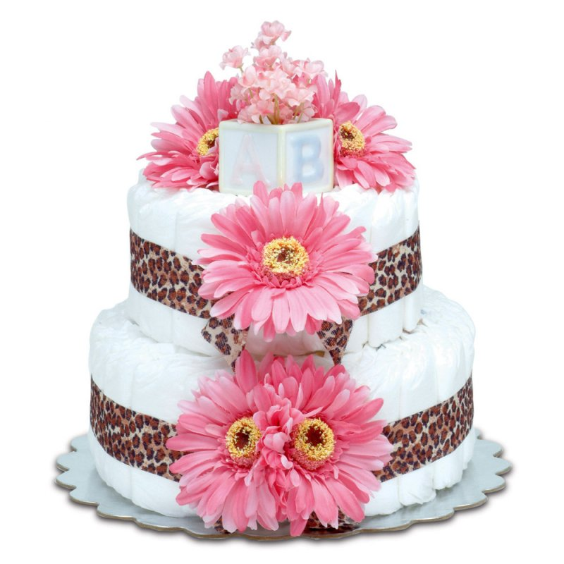 Two-Tier Hot Pink Daisies with Leopard Diaper Cake