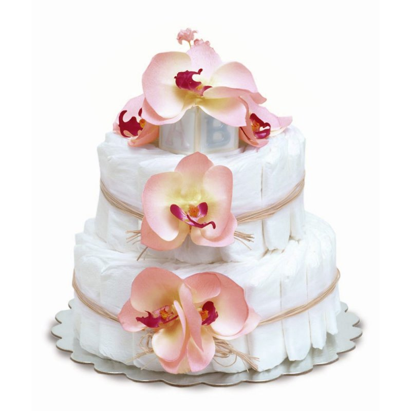 Two-Tier Pink Orchids with Natural Raffia Diaper Cake
