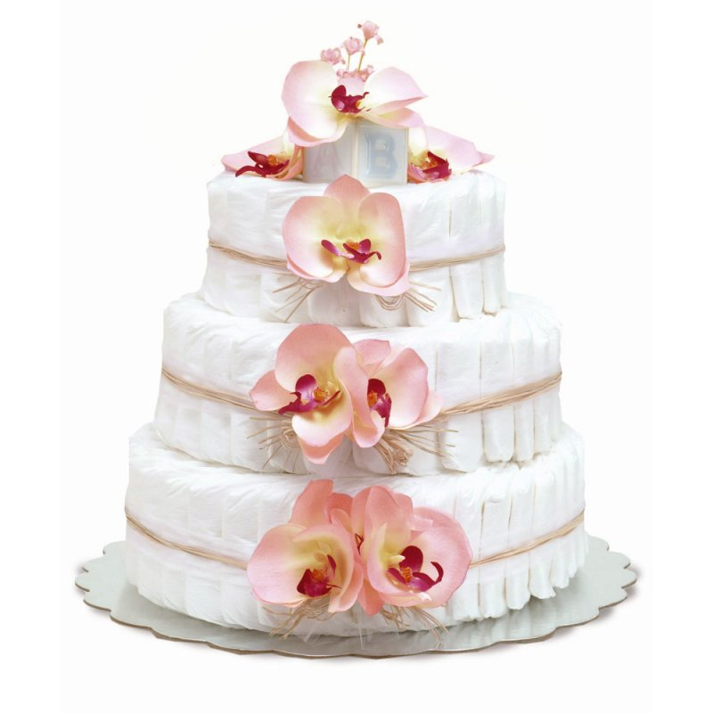 Three-Tier Pink Orchids with Natural Raffia Diaper Cake