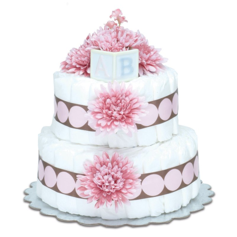 Two-Tier Pink Mums with Pink Dots Diaper Cake