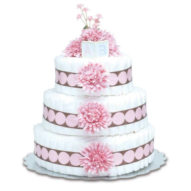 Three-Tier Pink Mums with Pink Dots Diaper Cake