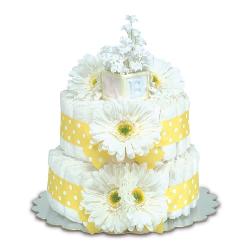 Two-Tier Yellow Gerbera Daisies with Polka Dots Diaper Cake