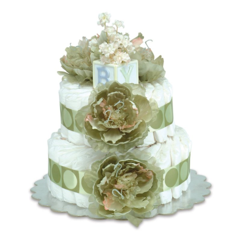 Two-Tier Sage Green Peonies with Sage Circles Diaper Cake