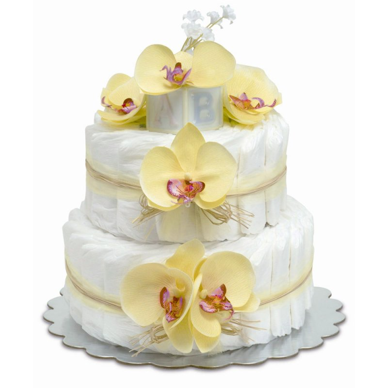 Two-Tier Yellow Orchids with Natural Raffia Diaper Cake