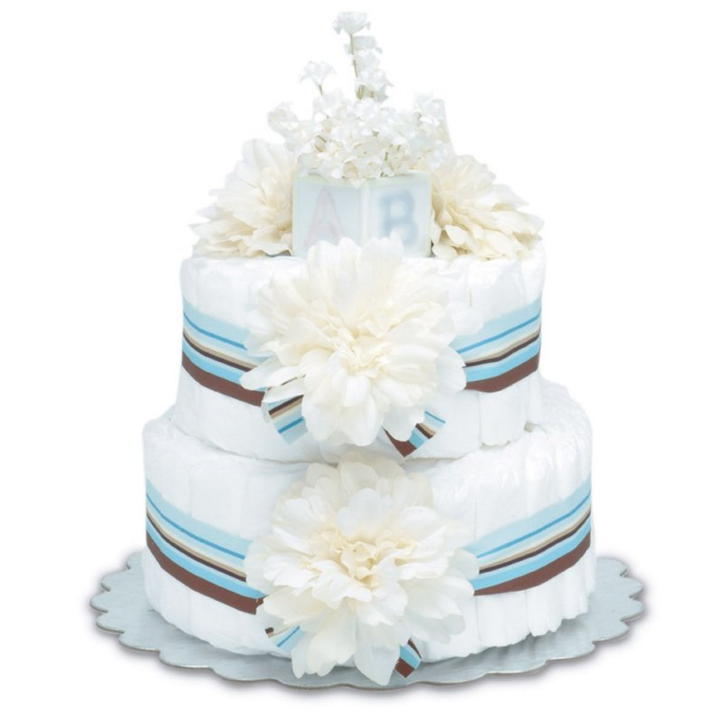 Two-Tier Cream Dahlias with Blue Stripes Diaper Cake
