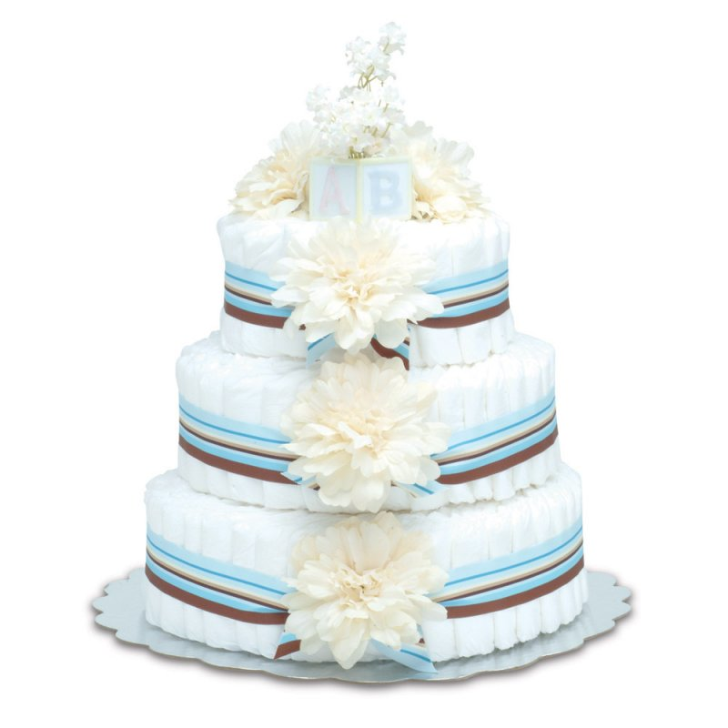 Three-Tier Cream Dahlias with Blue Stripes Diaper Cake