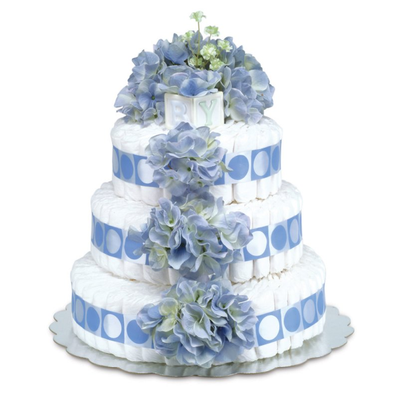 Three-Tier Blue Hydrangeas with Blue Circles Diaper Cake
