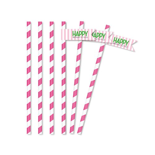 Classic Carnival Birthday Pink and Green Straw Flags