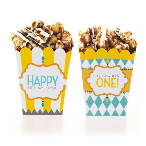 Classic Carnival Birthday Yellow and Blue Treat Boxes