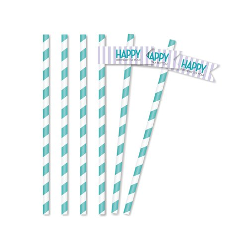 Classic Carnival Birthday Purple Straw Flags