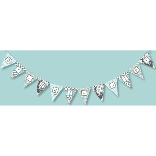 Brocade Bridal Shower Blue Banner