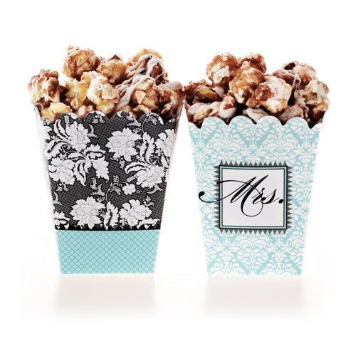 Brocade Bridal Shower Blue Treat Boxes