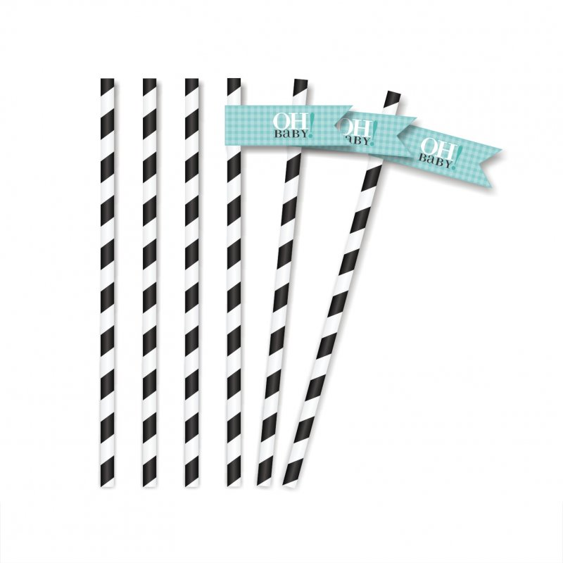 Vavavoom Vintage Baby Blue Straw Flags