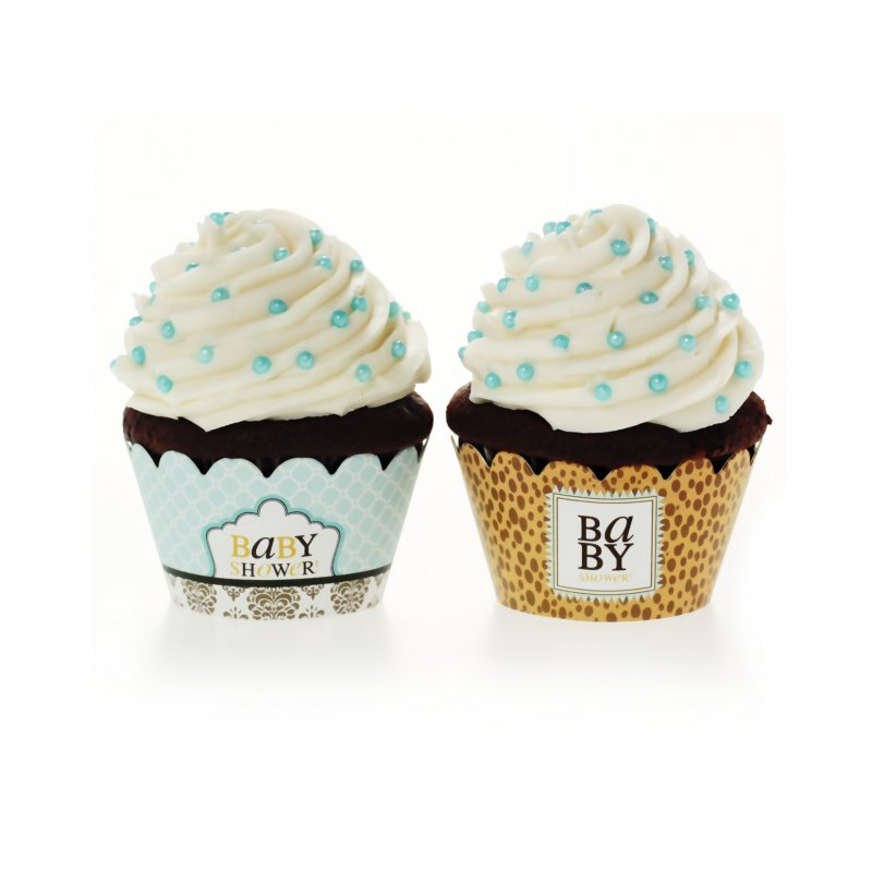 Leopard & Love Baby Blue Cupcake Wrappers