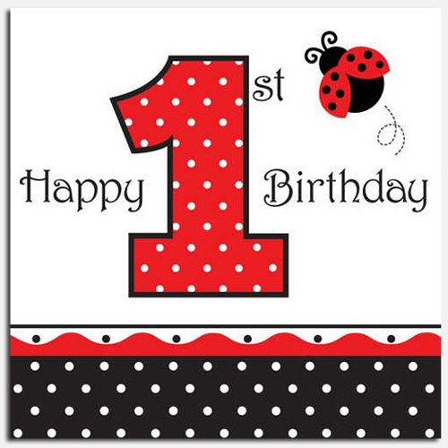 Ladybug Fancy 1st Birthday Luncheon Napkins