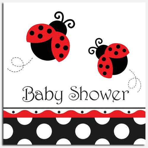 Ladybug Fancy Baby Shower Luncheon Napkins
